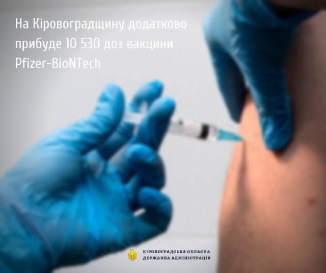 На Кіровоградщину додатково прибуде 10 530 доз вакцини Pfizer-BioNTech