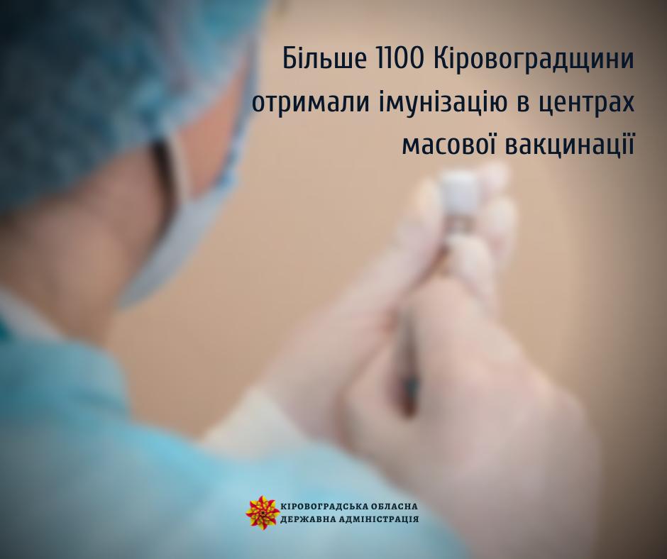 Більше 1100 жителів Кіровоградщини отримали імунізацію в центрах масової вакцинації