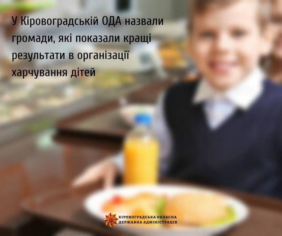 У Кіровоградській ОДА назвали громади, які показали кращі результати в організації харчування дітей