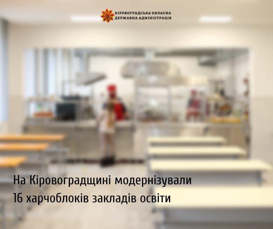 На Кіровоградщині модернізували 16 харчоблоків закладів освіти