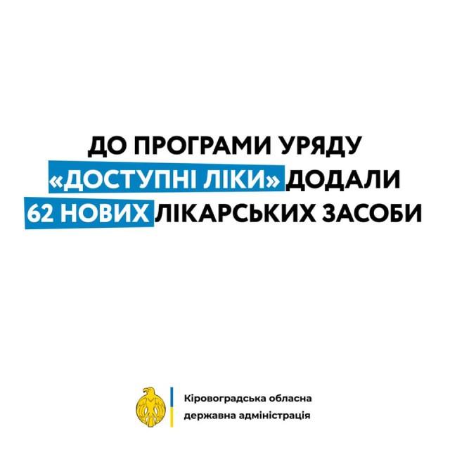 До програми Уряду Доступні ліки додали 62 нових лікарських засоби